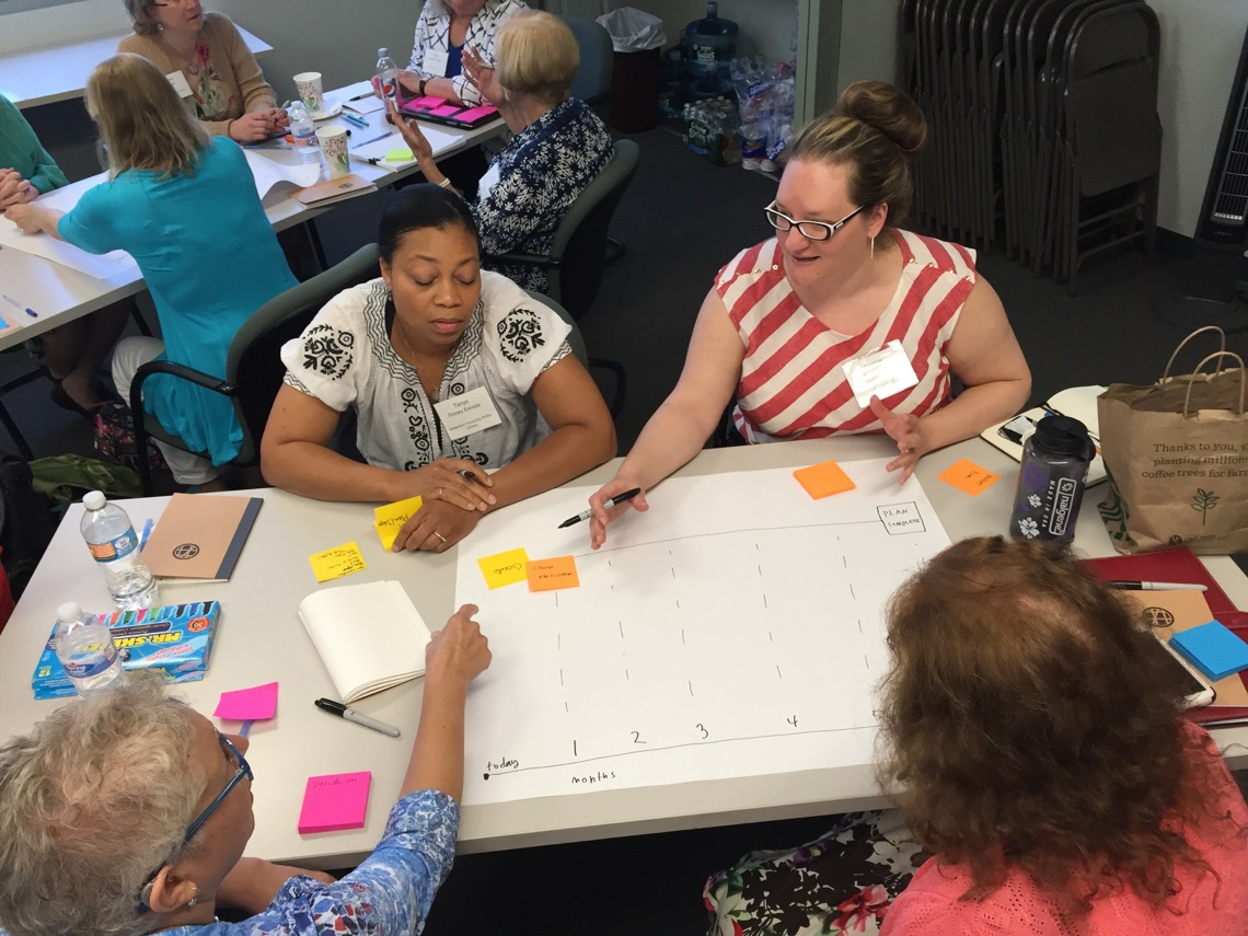 Librarians collaborate in small groups during the LibraryLink NJ Makerspace Workshop