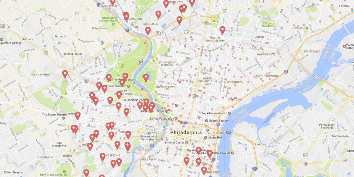 NaturePHL case study: image of map with pins marking outdoor recreation areas in Philadelphia.