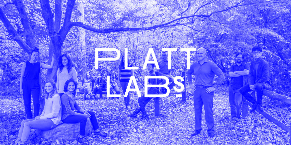 Platt Labs case study: Image of lab staff casually posed outdoors with Plat Labs logo superimposed in the center.
