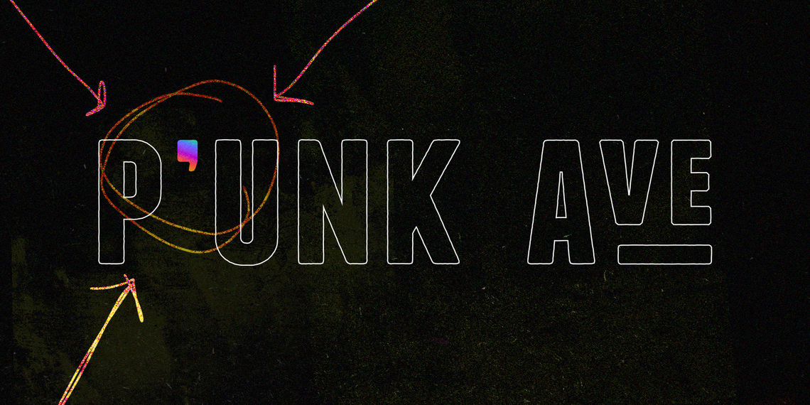 Graphic for Apostrophe spin out from P'unk Ave showing apostrophe in p'unk logo as always being part of P'unk