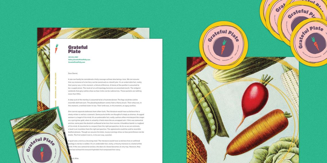 Grateful Plate case study: mockups of Grateful Plate's brand collateral, including brochures, stickers, and business cards, decorated with illustrations of vegetables and the circular, white and purple Grateful Plate logo.