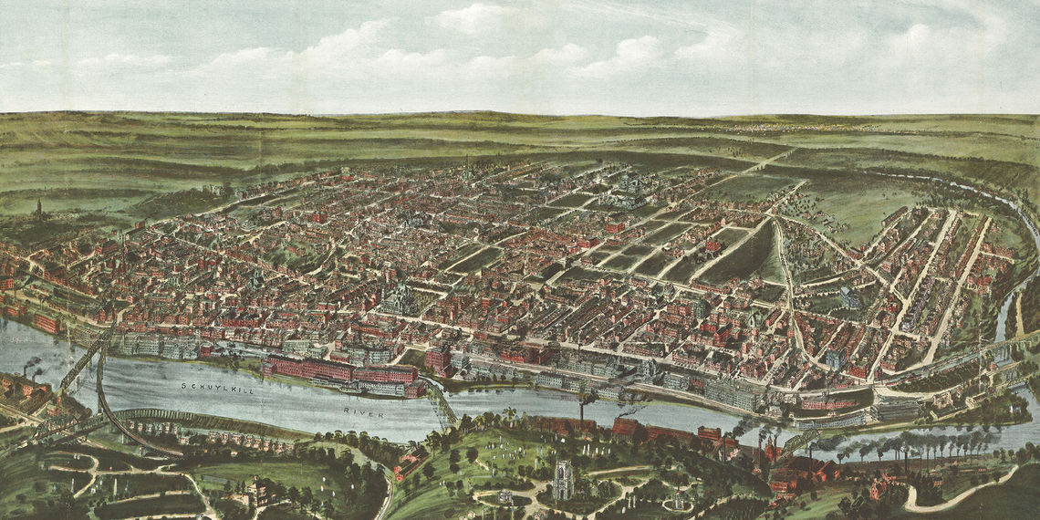 Roxborough Development Corporation case study: Illustration of the bird's eye view of Manayunk, Wissahickon, and Roxborough from West Laurel Hill Cemetery, Philadelphia, Pennsylvania 1907