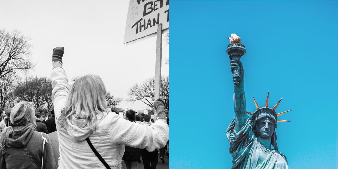 Historical Society of Pennsylvania case study: side by side images of a woman raising a fist at a political rally and the Statue of Liberty, perpetually raising aloft a torch.