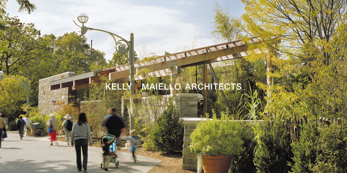 Kelly Maiello Architects case study: Image of stone and metal building in a forested setting